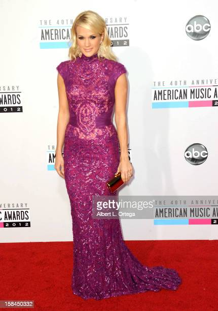 Singer Carrie Underwood arrives for the 40th Anniversary American Music Awards Arrivals held at Nokia Theater LA Live on November 18 2012 in Los...