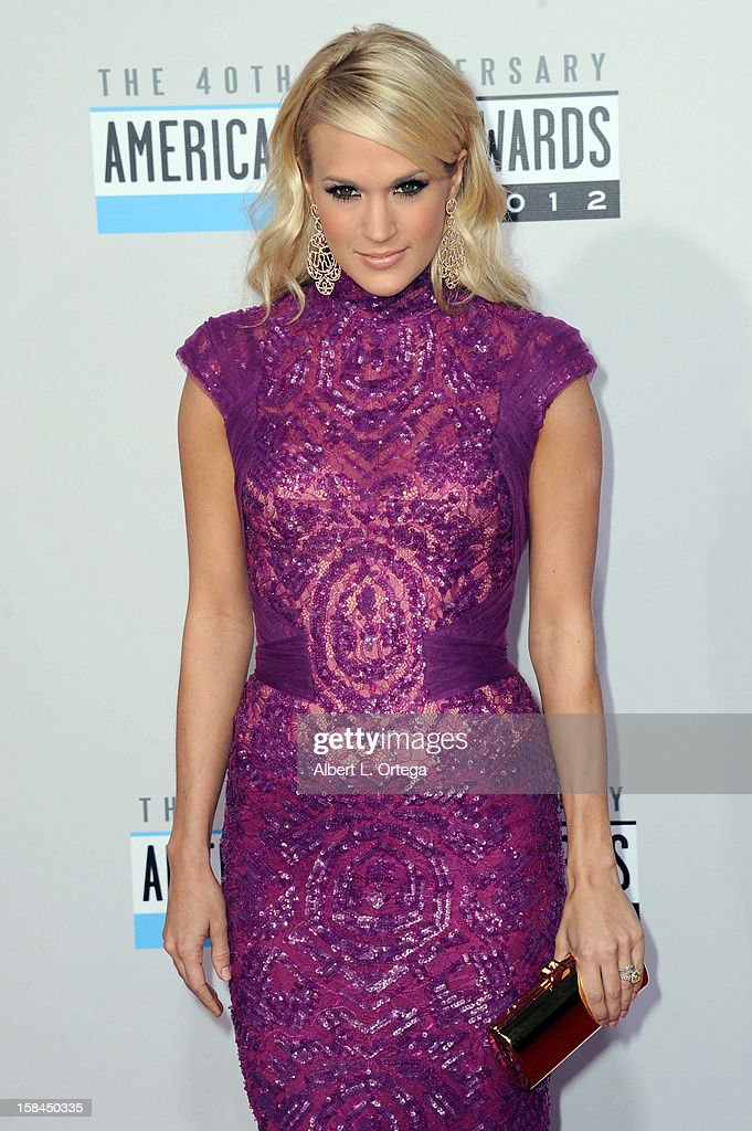 Singer Carrie Underwood arrives for the 40th Anniversary American Music Awards - Arrivals held at Nokia Theater L.A. Live on November 18, 2012 in Los Angeles, California.