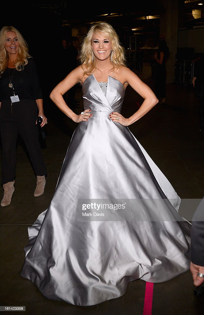 Singer Carrie Underwood attends the 55th Annual GRAMMY Awards at STAPLES Center on February 10, 2013 in Los Angeles, California.