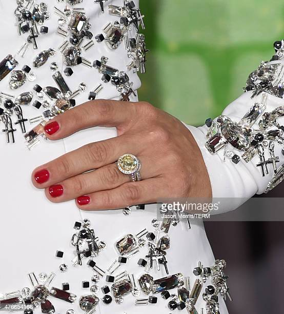 Singer Carrie Underwood fashion detail attends the 2015 CMT Music awards at the Bridgestone Arena on June 10 2015 in Nashville Tennessee