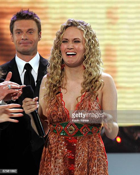 Singer Carrie Underwood is named the new American Idol by host Ryan Seacrest during the American Idol Finale Results Show held at the Kodak Theatre...