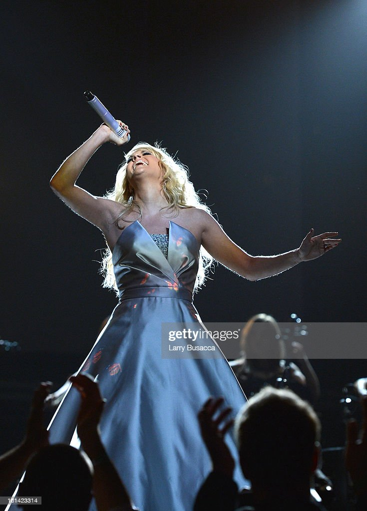 Singer Carrie Underwood onstage during the 55th Annual GRAMMY Awards at STAPLES Center on February 10, 2013 in Los Angeles, California.