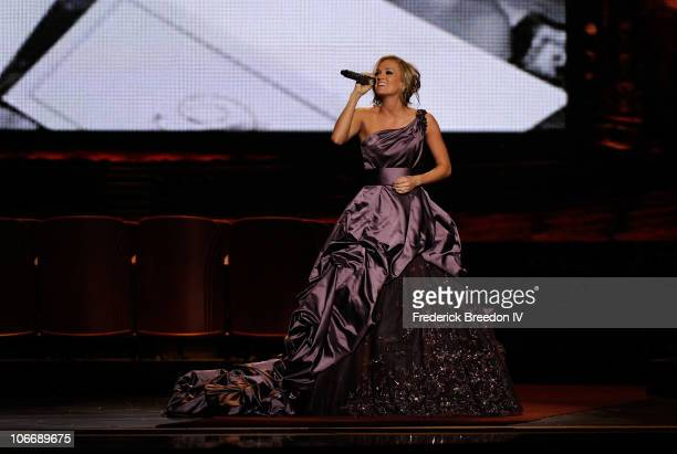 Singer Carrie Underwood performs onstage at the 44th Annual CMA Awards at the Bridgestone Arena on November 10 2010 in Nashville Tennessee