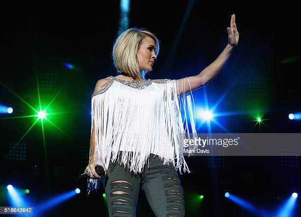 Singer Carrie Underwood performs onstage at the 4th ACM Party for a Cause Festival at the Las Vegas Festival Grounds on April 1 2016 in Las Vegas...