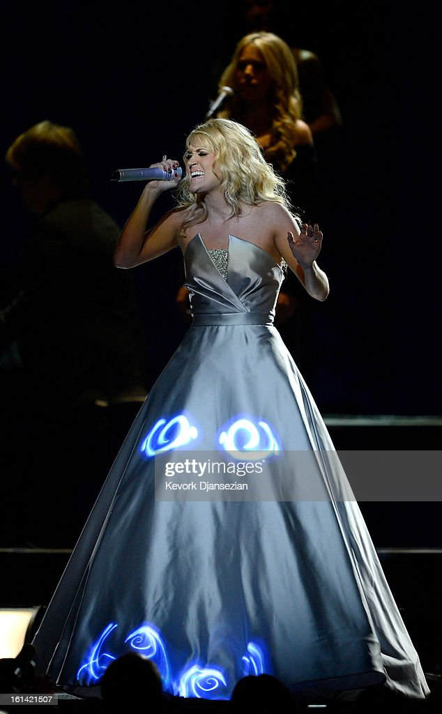 Singer Carrie Underwood performs onstage at the 55th Annual GRAMMY Awards at Staples Center on February 10, 2013 in Los Angeles, California.