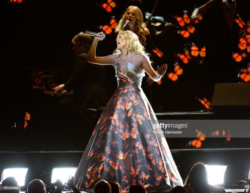 Singer Carrie Underwood performs onstage at the 55th Annual GRAMMY Awards at Staples Center on February 10 2013 in Los Angeles California