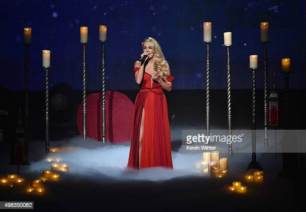 Singer Carrie Underwood performs onstage during the 2015 American Music Awards at Microsoft Theater on November 22 2015 in Los Angeles California