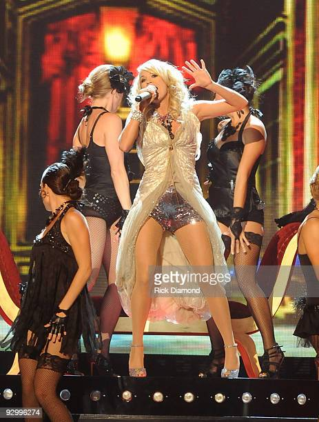 Singer Carrie Underwood performs onstage during the 43rd Annual CMA Awards at the Sommet Center on November 11 2009 in Nashville Tennessee