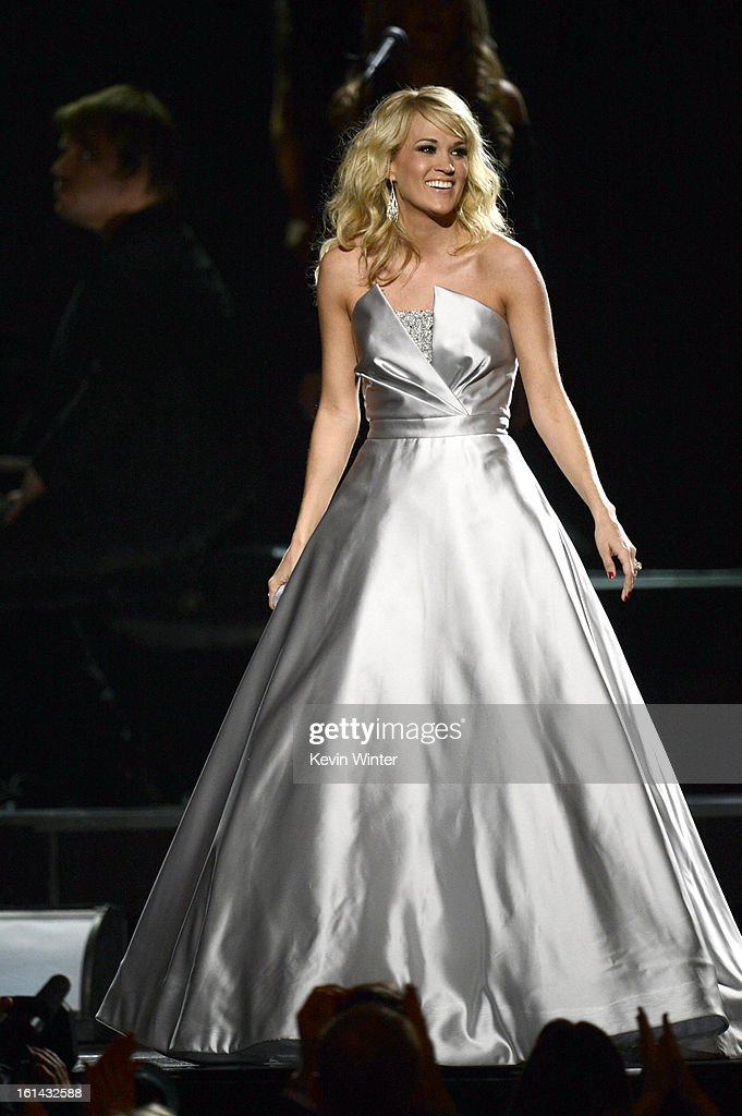 Singer Carrie Underwood performs onstage during the 55th Annual GRAMMY Awards at STAPLES Center on February 10, 2013 in Los Angeles, California.