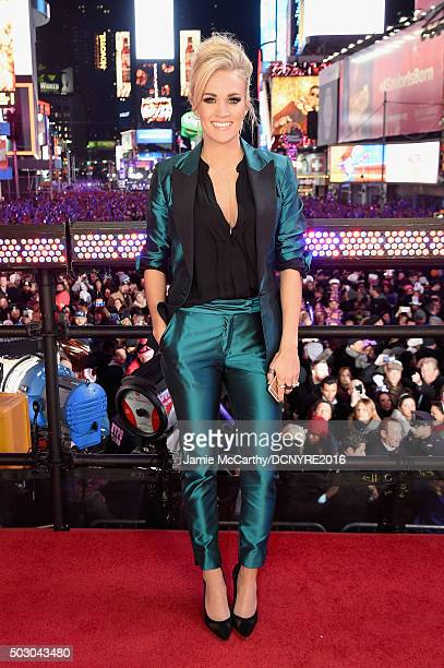 Singer Carrie Underwood poses on stage at the Dick Clark's New Year's Rockin' Eve with Ryan Seacrest 2016 on December 31 2015 in New York City