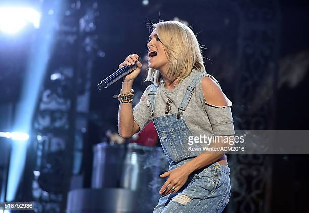 Singer Carrie Underwood rehearses onstage during the 51st Academy of Country Music Awards at MGM Grand Garden Arena on April 2 2016 in Las Vegas...