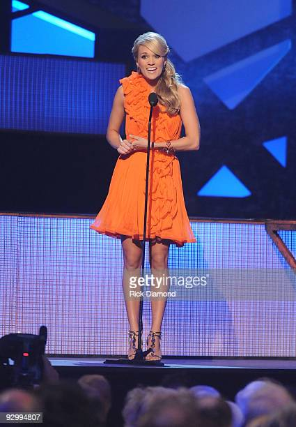 Singer Carrie Underwood speaks onstage during the 43rd Annual CMA Awards at the Sommet Center on November 11 2009 in Nashville Tennessee