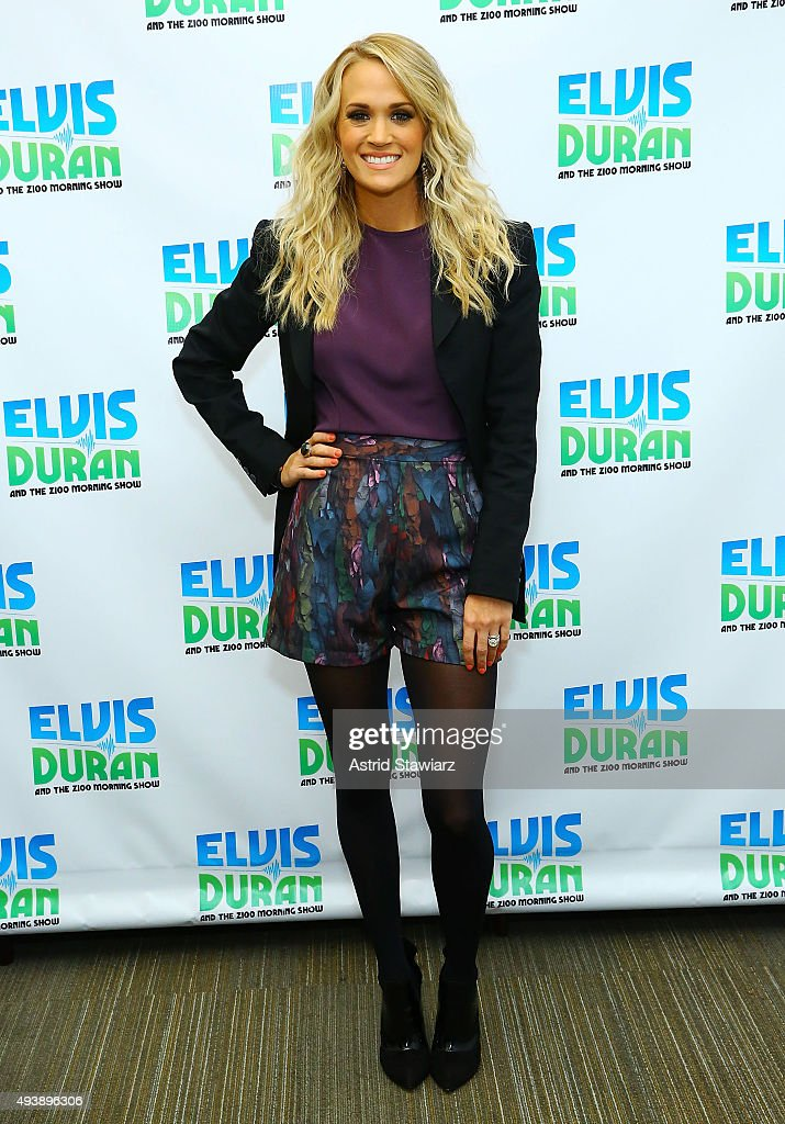 Singer <a gi-track='captionPersonalityLinkClicked' href=/galleries/search?phrase=Carrie+Underwood&family=editorial&specificpeople=204483 ng-click='$event.stopPropagation()'>Carrie Underwood</a> visits 'The Elvis Duran Z100 Morning Show' at Z100 Studios on October 22, 2015 in New York City.