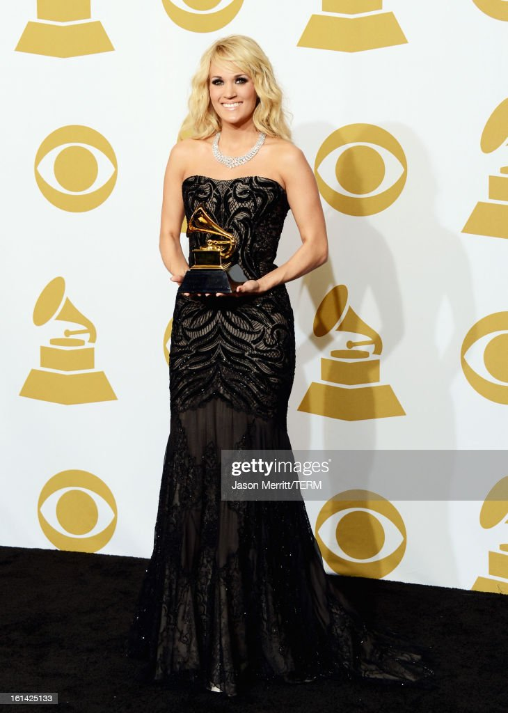 Singer Carrie Underwood, winner Best Country Solo Performance, poses in the press room at the 55th Annual GRAMMY Awards at Staples Center on February 10, 2013 in Los Angeles, California.