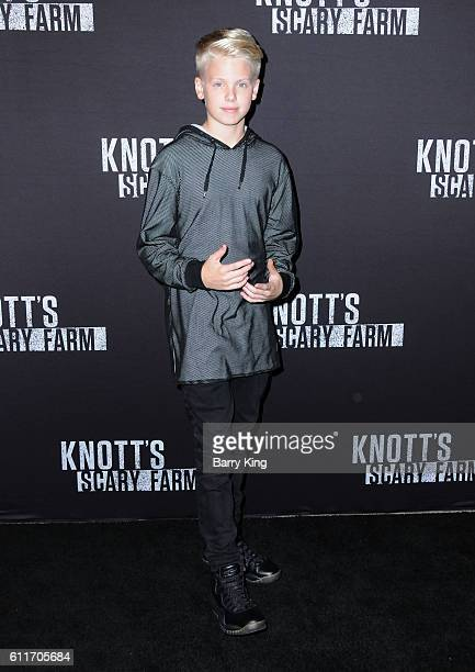 Singer Carson Lueders attends Knott's Scary Farm black carpet event at Knott's Berry Farm on September 30 2016 in Buena Park California
