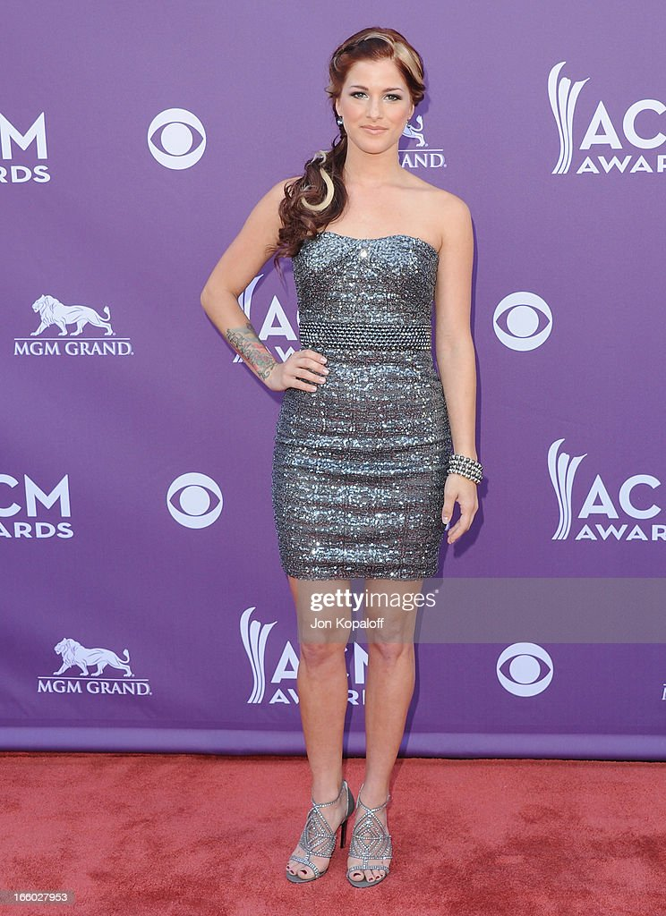 Singer Cassadee Pope arrives at the 48th Annual Academy Of Country Music Awards at MGM Grand Garden Arena on April 7, 2013 in Las Vegas, Nevada.
