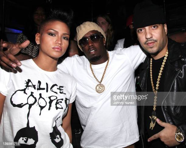Singer Cassie Sean 'Diddy' Combs and rapper French Montana attend the King of Hearts party at SL on February 19 2012 in New York City