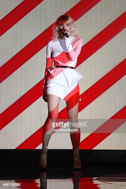 Singer Cecile Cassel aka HOLLYSIZ performs during the 'Les Victoires de la musique 2014' ceremony at Le Zenith on February 14 2014 in Paris France