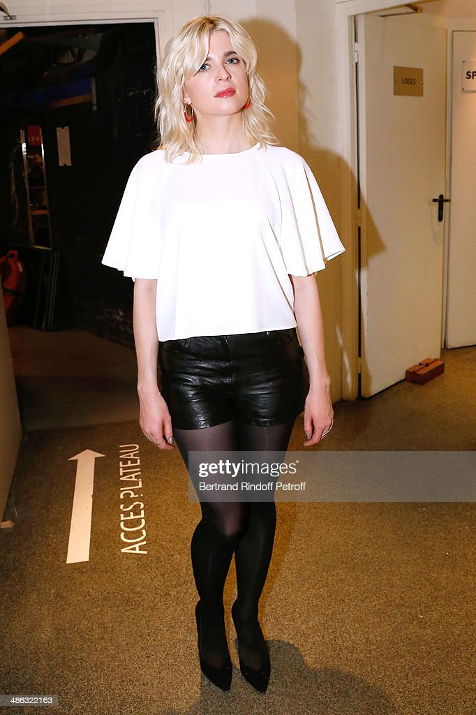 Singer Cecile Cassel alias Hollysiz attends the 'Vivement Dimanche' French TV show Held at Pavillon Gabriel on April 23 2014 in Paris France