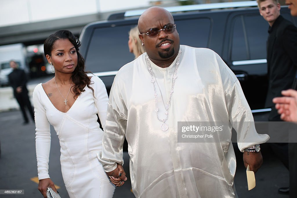 Singer Cee-Lo Green (R) and Shauni attend the 56th GRAMMY Awards at Staples Center on January 26, 2014 in Los Angeles, California.