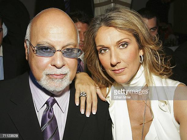 Singer Celine Dion and her husband and manager Rene Angelil pose before a fashion show by jewelry designer Chris Aire at the Pure Nightclub at...