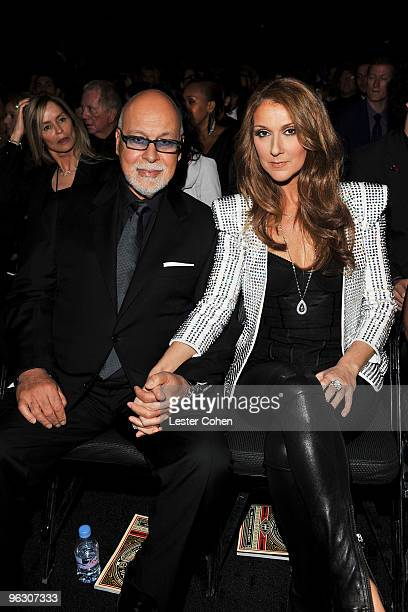 Singer Celine Dion and her husband Rene Angelil attend the 52nd Annual GRAMMY Awards held at Staples Center on January 31 2010 in Los Angeles...