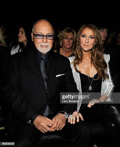 Singer Celine Dion and husband Rene Angelil in the audience during the 52nd Annual GRAMMY Awards held at Staples Center on January 31 2010 in Los...