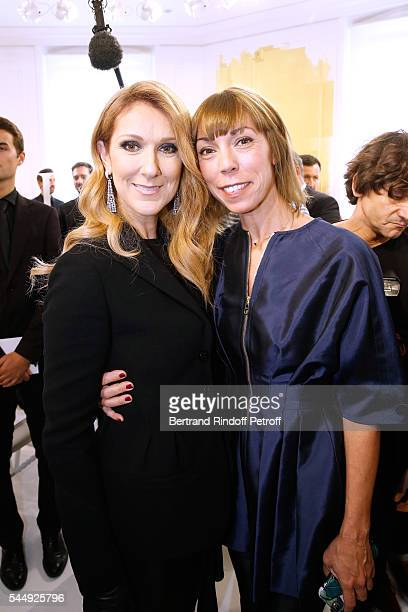 Singer Celine Dion and Mathilde Favier attend the Christian Dior Haute Couture Fall/Winter 20162017 show as part of Paris Fashion Week on July 4 2016...