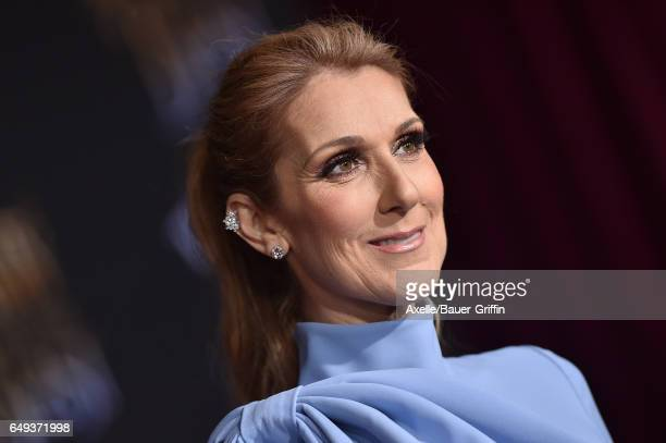 Singer Celine Dion arrives at the Los Angeles Premiere of 'Beauty and the Beast' at El Capitan Theatre on March 2 2017 in Los Angeles California