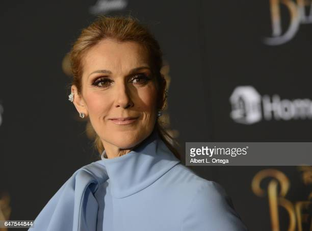 Singer Celine Dion arrives for the Premiere Of Disney's 'Beauty And The Beast' held at El Capitan Theatre on March 2 2017 in Los Angeles California