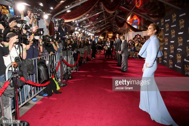 Singer Celine Dion arrives for the world premiere of Disney's liveaction 'Beauty and the Beast' at the El Capitan Theatre in Hollywood as the cast...