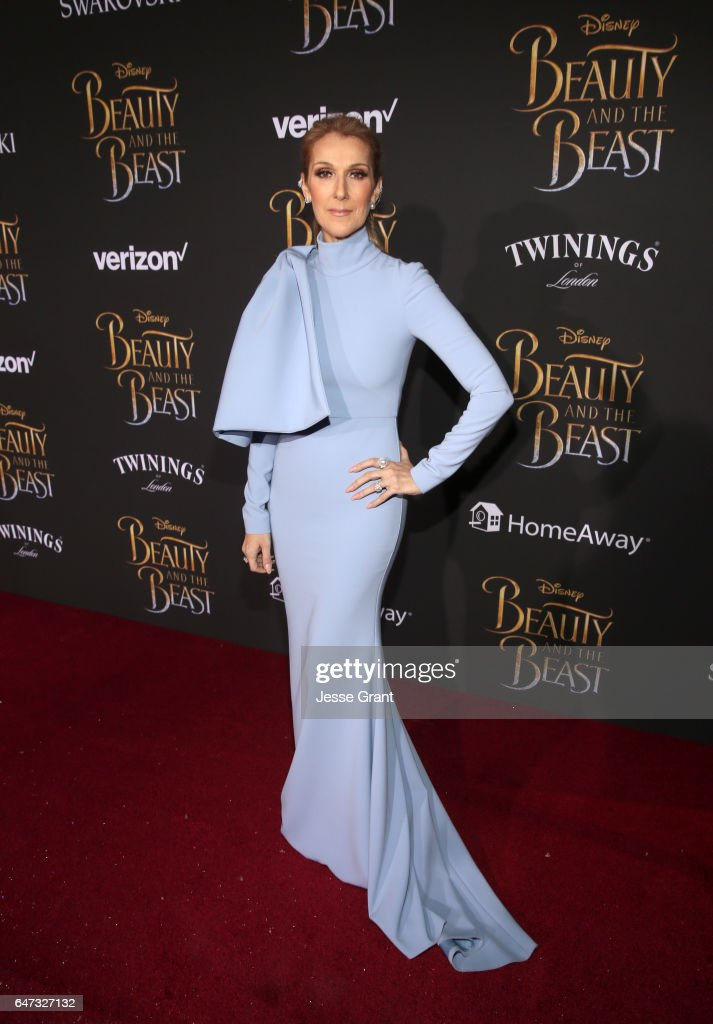 Singer Celine Dion arrives for the world premiere of Disney's live-action 'Beauty and the Beast' at the El Capitan Theatre in Hollywood as the cast and filmmakers continue their worldwide publicity tour on March 2, 2017 in Los Angeles, California.