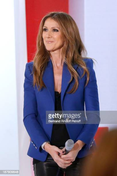 Singer Celine Dion attends the 'Vivement Dimanche' French TV Show held at Pavillon Gabriel on November 13 2013 in Paris France