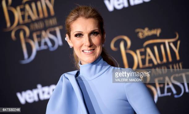 Singer Celine Dion attends the world premiere of Disney's Beauty and the Beast at El Capitan Theatre in Hollywood California on March 2 2017 / AFP...