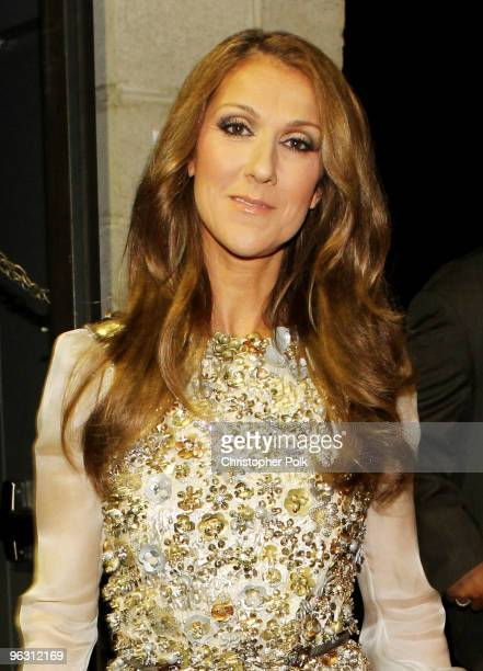 Singer Celine Dion backstage during the 52nd Annual GRAMMY Awards held at Staples Center on January 31 2010 in Los Angeles California