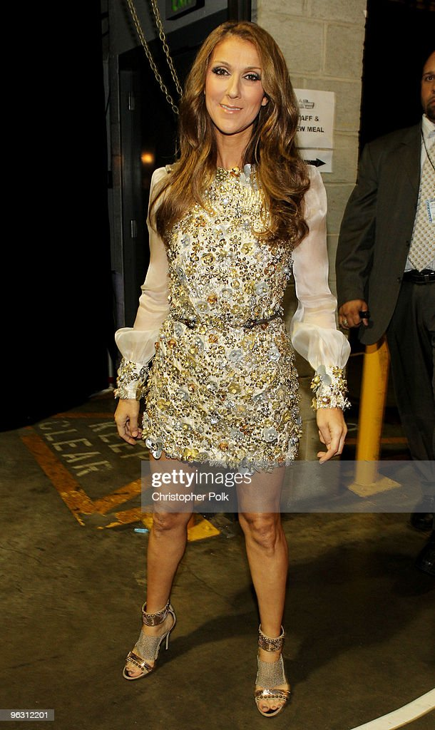 Singer Celine Dion backstage during the 52nd Annual GRAMMY Awards held at Staples Center on January 31, 2010 in Los Angeles, California.