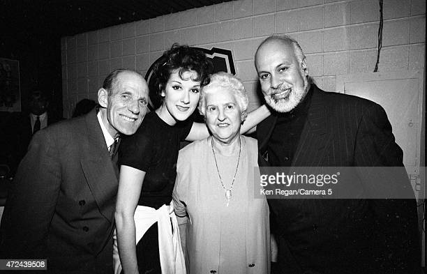 Singer Celine Dion is photographed backstage with husband Rene Angelil and parent in 1994 in Montreal Quebec CREDIT MUST READ Ken Regan/Camera 5 via...