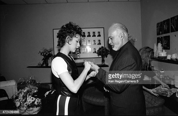 Singer Celine Dion is photographed backstage with husband Rene Angelil in 1994 in Montreal Quebec CREDIT MUST READ Ken Regan/Camera 5 via Contour by...