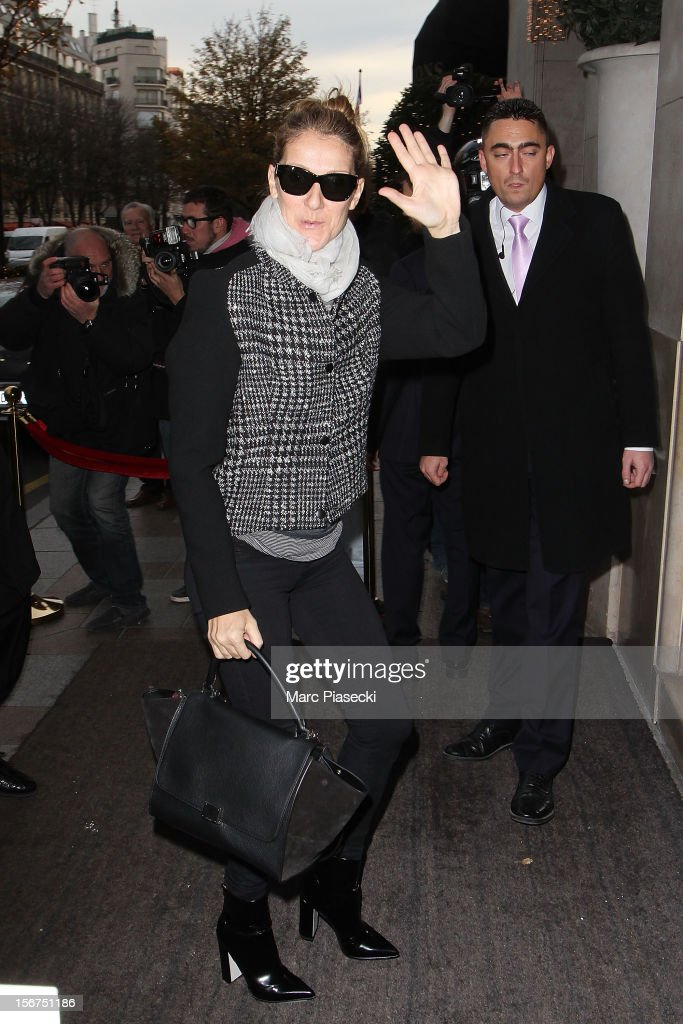 Singer Celine Dion is seen arriving at her hotel on November 20, 2012 in Paris, France.