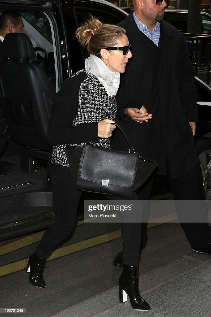 Singer <a gi-track='captionPersonalityLinkClicked' href=/galleries/search?phrase=Celine+Dion&family=editorial&specificpeople=202973 ng-click='$event.stopPropagation()'>Celine Dion</a> is seen arriving at her hotel on November 20, 2012 in Paris, France.