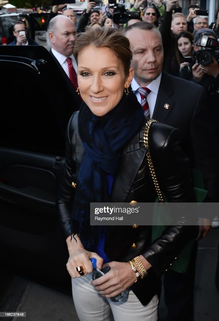Singer Celine Dion is seen leaving her Midtown hotel on October 29, 2013 in New York City.