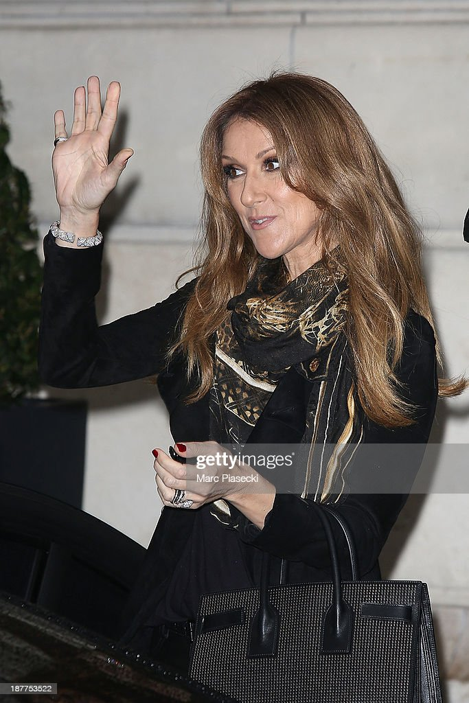 Singer Celine Dion leaves her hotel on November 12, 2013 in Paris, France.