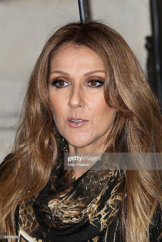 Singer Celine Dion leaves her hotel on November 12, 2013 in Paris, France.