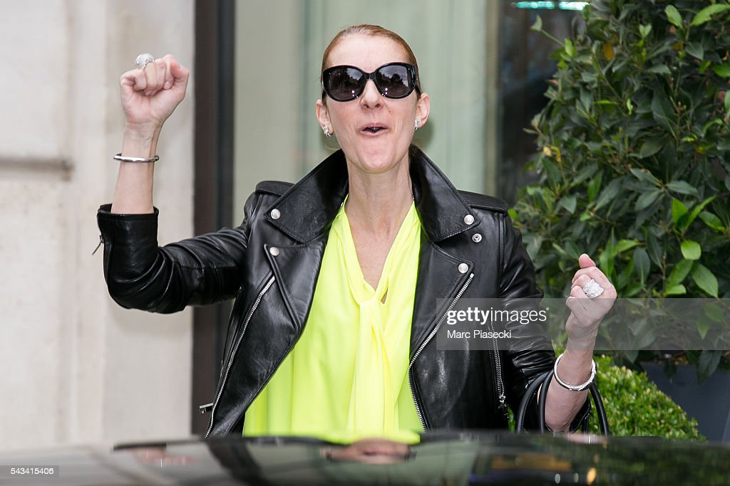 Singer Celine Dion leaves the 'Art District' apartments on June 28, 2016 in Paris, France.
