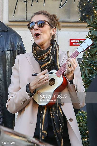 Singer Celine Dion leaves the 'Art District' appartments on December 2 2013 in Paris France