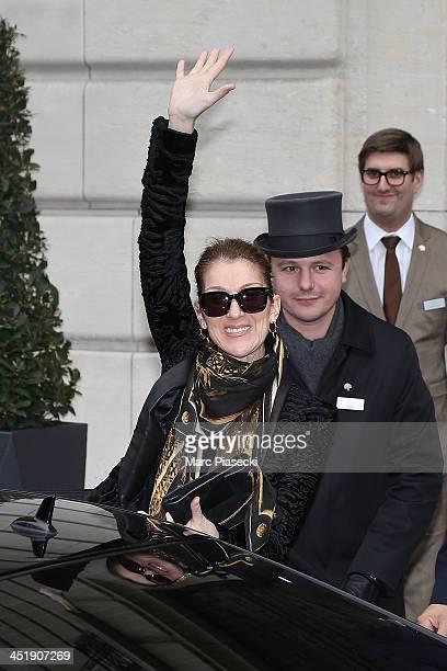 Singer Celine Dion leaves the 'Art District' appartments on November 25 2013 in Paris France