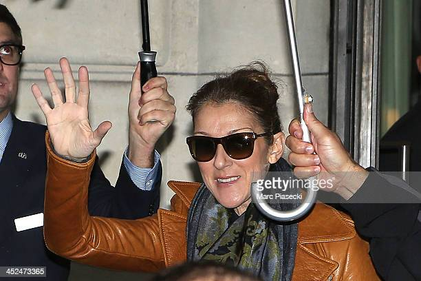 Singer Celine Dion leaves the 'Art District' appartments on November 29 2013 in Paris France