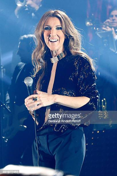 Singer Celine Dion performs at Palais Omnisports de Bercy on November 25 2013 in Paris France
