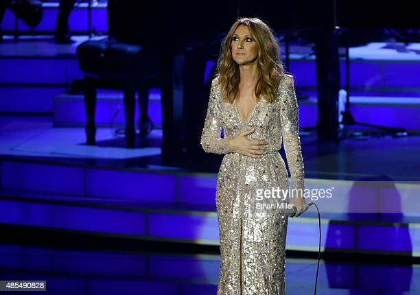 Singer Celine Dion performs at The Colosseum at Caesars Palace as she resumes her residency on August 27 2015 in Las Vegas Nevada The show had been...
