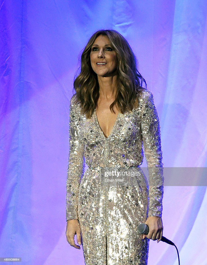 Singer <a gi-track='captionPersonalityLinkClicked' href=/galleries/search?phrase=Celine+Dion&family=editorial&specificpeople=202973 ng-click='$event.stopPropagation()'>Celine Dion</a> performs at The Colosseum at Caesars Palace as she resumes her residency on August 27, 2015 in Las Vegas, Nevada. The show had been on hiatus since August 2014 when Dion stopped performing to care for her ailing husband Rene Angelil.